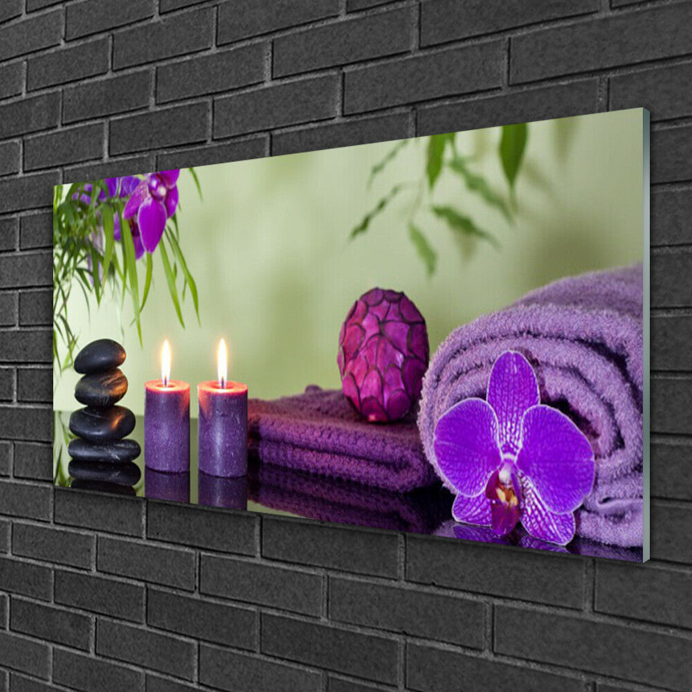 Print on Glass Wall art 100x50 Picture Image Stones Candle Towels Art