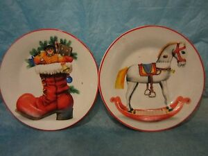 image is loading greenbrier international decorative christmas plates rocking horse and