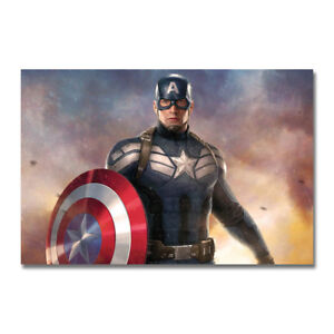 Captain America  Superhero Hot Movie Art Canvas Poster Print
