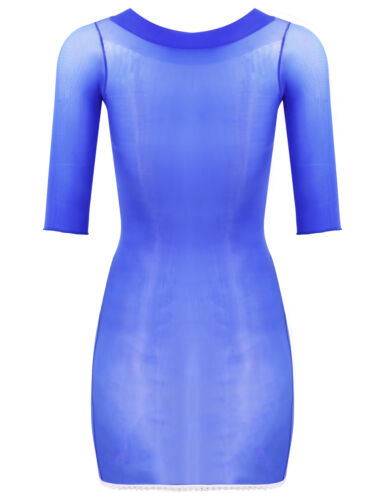 Women Body Stocking Mini Dress Babydoll Hollow Out Fishnet Bodycon Nightwear