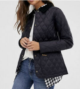 Womens-Barbour-quilted-Navy-jacket-Size-M