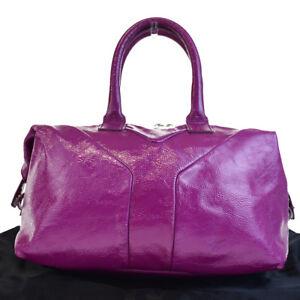 da2f22b078c5 Authentic YVES SAINT LAURENT Y Logo Hand Bag Patent Leather Purple ...