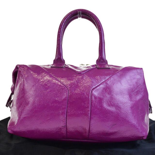 0fe94d5f850 Authentic YVES SAINT LAURENT Y Logo Hand Bag Patent Leather Purple Italy  68EG230