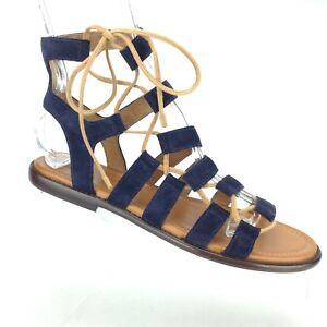 5ac49ba124f5 Frye Blair Side Ghillie Navy Blue Suede Leather Gladiator Sandal ...