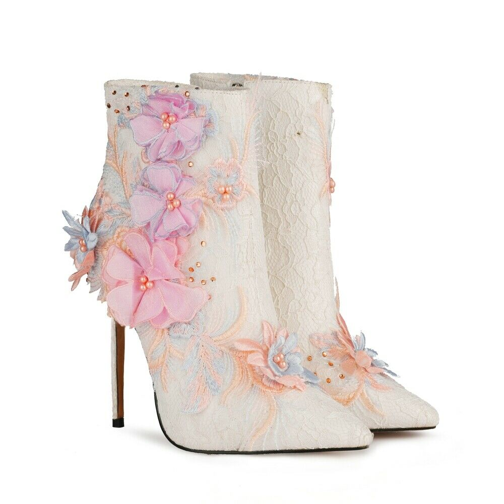 New Trendy Women Lady Pointed Toes Flower Rhinestones High Heel Ankle Boot Q570