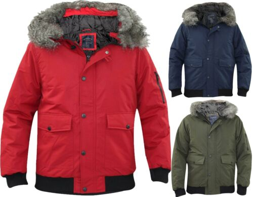 Mens Padded Jacket Detachable Fur Trim Long Sleeves Heavy Puffer Winter Coat UK