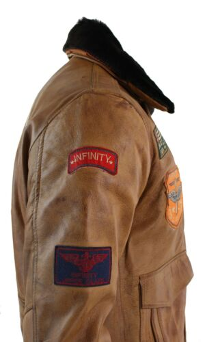 Tan Mens Brown Retro Pilot Force vintage Badge Vintage Leather Tan Genuine Jacket Bomber Air rxrg67wq8