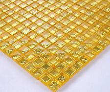 Mosaico in vetro mosaico 15x15mm 8mm STRASS Piastrelle 30x30cm Oro Metallo Decorazione bo-1