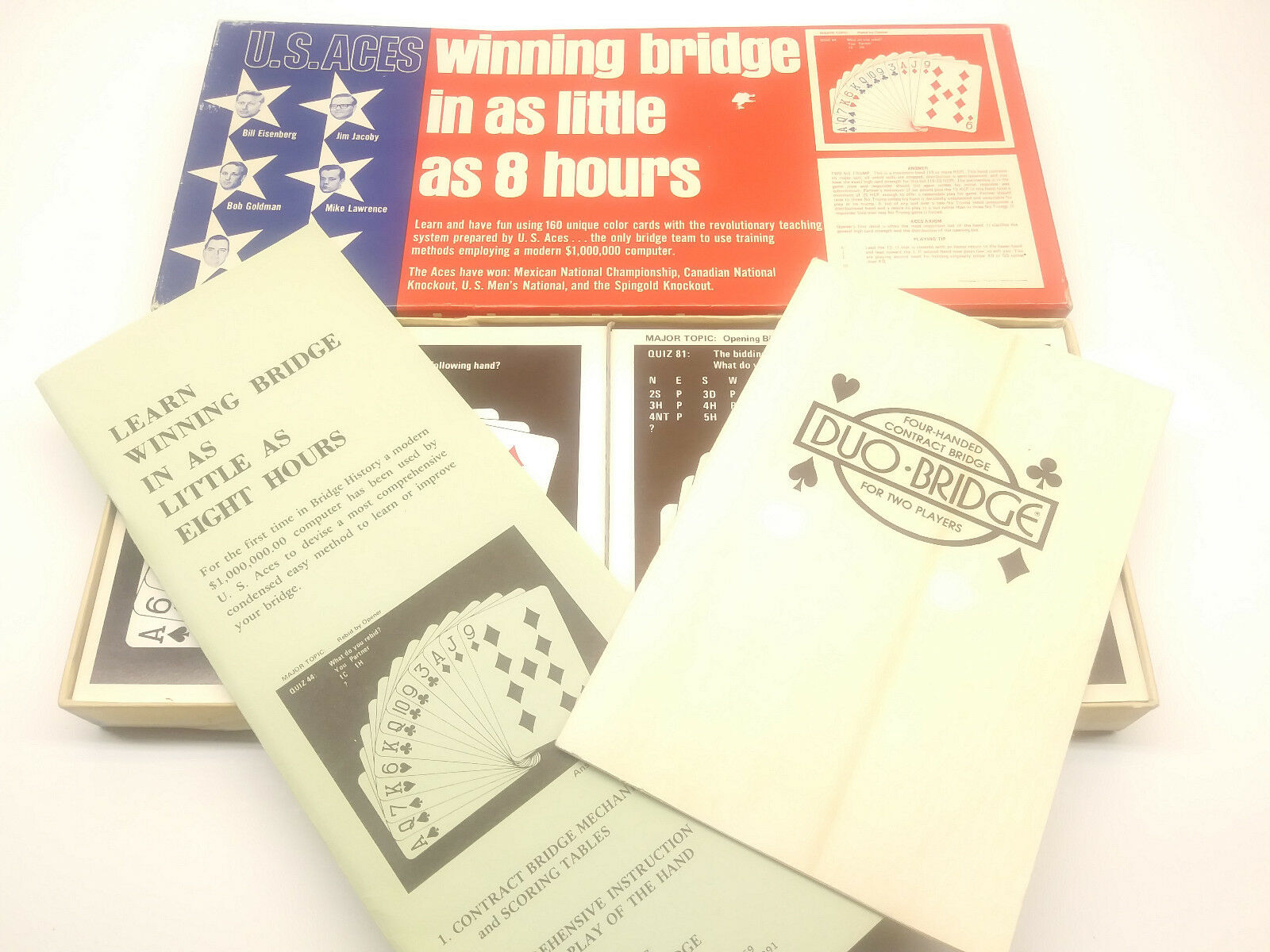 US Aces Winning Bridge in as Little as 8 8 8 Hours Used Rare Vintage Playing Card 021f30