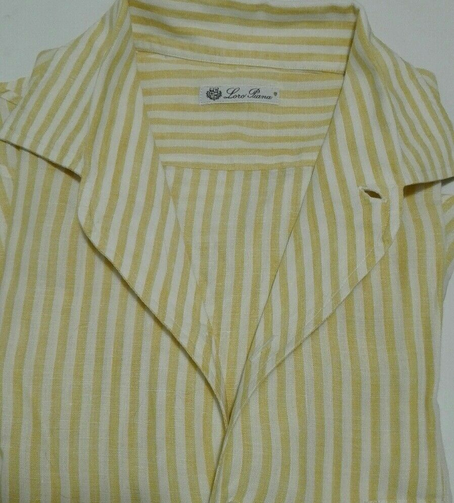 LORO PIANA camicia André - - PURO LINO - righe bianche e arancioni - - S - originale 5d1908