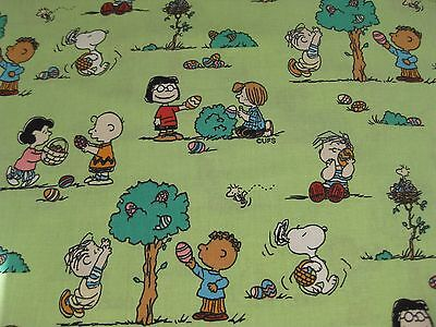 4 Yards 20 Inches - Washed - Peanuts Snoopy Charlie Brown Green Easter Fabric