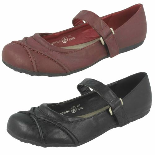 F8R714 SPOT ON LADIES RIPTAPE STRAP CASUAL WORK ROUND TOE BALLERINA DOLLY SHOES