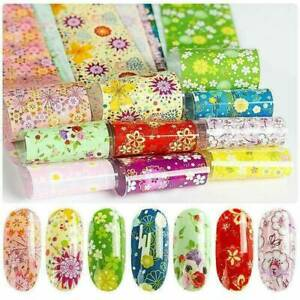 10-Sheets-Flower-Transfer-Nail-Foil-Decals-Stickers-Holographic-Manicure-UV-Tips