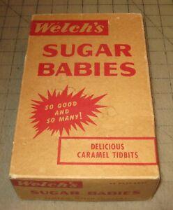 Vintage WELCH'S SUGAR BABIES Caramel Tidbits Empty Brown Retail Box, Barn Fresh