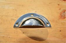 ART DECO STYLE CHROME ON BRASS CUP FURNITURE HANDLE DRAWER PULL KITCHEN  WH67