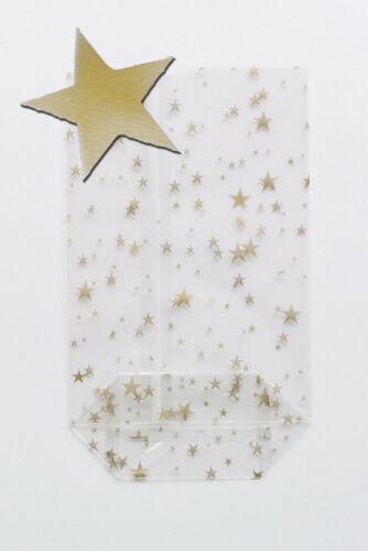 100 Kekstüten Weihnachten mit goldenen Sternen OPP Zellglas-Bodenbeutel 95 x 160