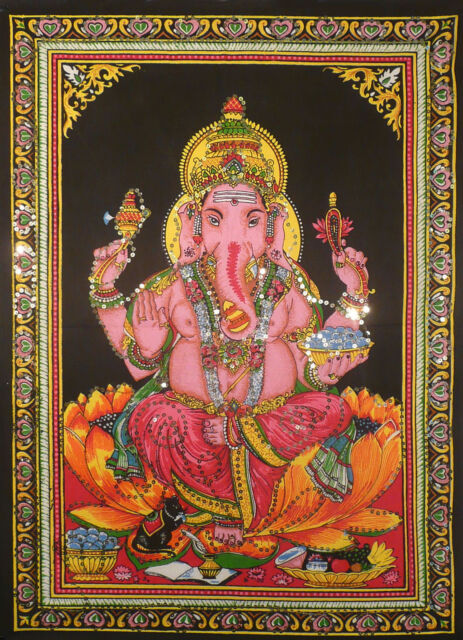 ♥♥ Indian Poster Elephant Ganesh Wall Hanging Poster Ethnic Art Fabric Print♥♥