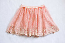 NEW Free People Intimately Sheer Lace Hem Skirt Dotted Floral Orange Peach Sz M