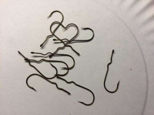 10 MINI BARB #6 FLY TYING HOOKS FOR BASS POPPERS CHEMICALLY SHARPENED