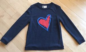 5b74ae316bc Details about BOUTIQUE BY JAEGER Comfy Flocked Selena Heart Art Sweater  Knit Top Sweatshirt M