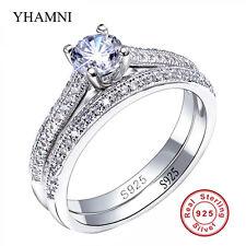 Anello di banda di fidanzamento Set CZ 925 Argento Sterling Donne 2-in - 1 gioielli da sposa 8