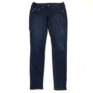 True-Religion-Women-039-s-Dark-Wash-Skinny-Ankle-Mid-Rise-Stretch-Denim-Jeans-Sz-28