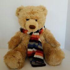 Aeropostale Teddy Bear Plush With Logo Multi Color Striped Scarf Brown Stuffed