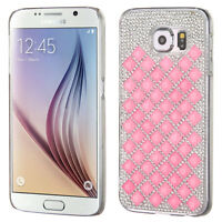 For Samsung Galaxy S6 Bb Pink Clear Diamond Desire Cover Case + Screen Film