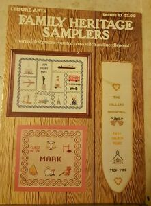 1976-LEISURE-ARTS-FAMILY-HERITAGE-SAMPLERS-CROSS-STITCH-DESIGNS