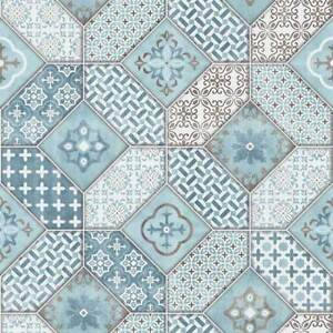 Image Is Loading Moroccan Tile Effect Wallpaper Luxury Blue Amp White
