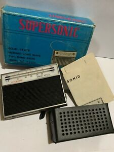 VINTAGE SUPERSONIC POCKET RADIO  2-BAND AM(MW)- LW BAND FROM THE 1970s +BOX+Case