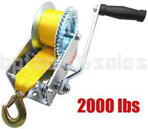 Nylon-Strap-Dual-Gear-2000lbs-Hand-Winch-Hand-Crank-Heavy-Duty-ATV-Trailer-Boat