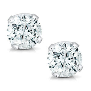 14K White Gold Round Diamond Stud Earrings (1/5cttw)