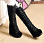 Womens High Hidden Wedge Black Lace up Fashion Mid Calf Boots Punk Shoes A334