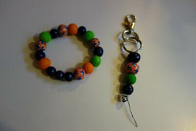 Armband Schlüsselanhänger Mädchen Damen Perlen Modeschmuck Neu Grün Blau Orange