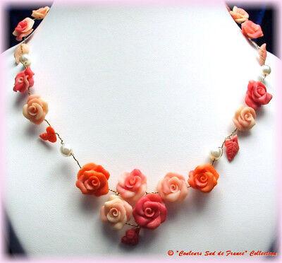 Collier Unique Artisanal Mariage Roses Saumon Résine Et Perles Imitation P160 Buono Per L'Energia E La Milza