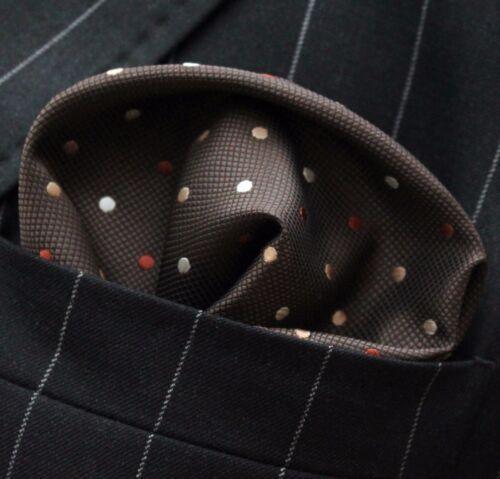 Hankie Pocket Square Handkerchief Brown with Brown Orange /& White Spot