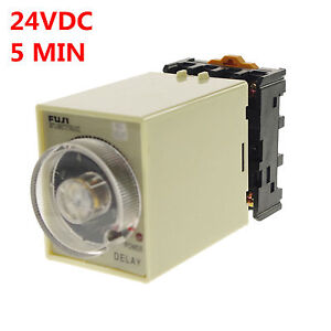 24VAC-DC-0-5-Minutes-Power-Off-Delay-Time-Relay-With-Socket-Base