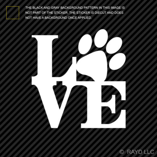 2x Love Paw Print with Heart Sticker Die Cut Decal Self Adhesive Vinyl
