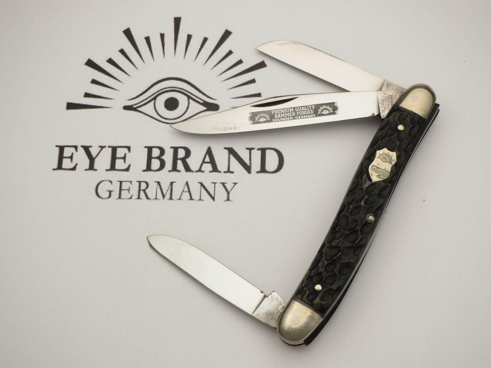 Vintage EYE BRAND Three-Eye Large Premium Stock Knife Nice Bone MINT