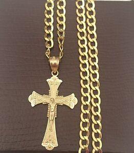 Real 14K Yellow Rose Gold Jesus Crucifix Cross Charm Pendant Box Chain 20 inch