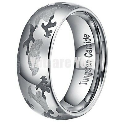 TUNGSTEN Camo Ring Army Hunting Camouflage 8mm Wedding Band Ring SIZE 7 - 12