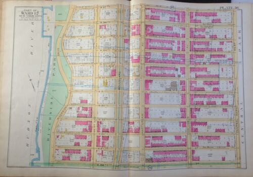 97th STREET 1891 UPPER WEST SIDE RIVERSIDE DRIVE MANHATTAN NY MAP ATLAS 86th