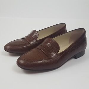 Talbots-Womens-Flats-Penny-Loafers-Shoes-Leather-Brown-Italy-Size-6-5