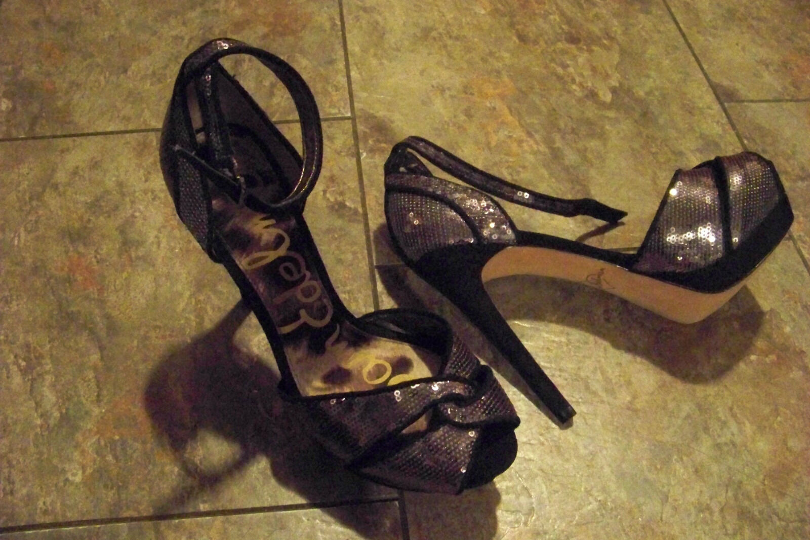 Womens sam edelman paisly  Sequin Ankle-Wrap Sandal size 8