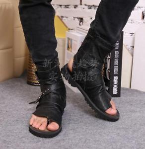 Gladiator pour homme en cuir véritable haut top Roma Beach Flip Flop Sandale Chaussures Boucle