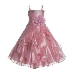 Wedding-Organza-Pleated-Ruffled-Flower-Girl-Dress-Communion-Party-Pageant-Dress