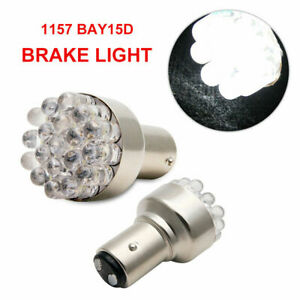 2-x-White-19-LED-380-car-light-bulbs-Tail-Stop-twin-filament-1157-Bay15D-12v