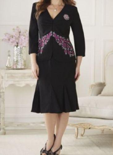 Midnight Velvet Formal Dress Black Pink Floral Embroidered Skirt Suit Sz 8 10 12