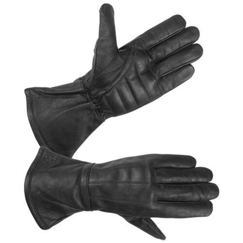 Men/'s Water Resistant Deerskin Leather Motorcycle Gauntlet Glove with Padded Pal